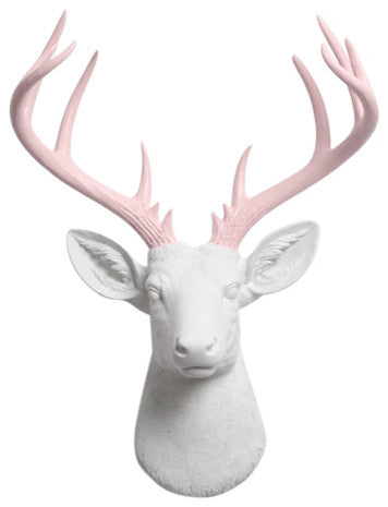 white Resin XL Deer Head Mount, Cameo Pink Antler Decor