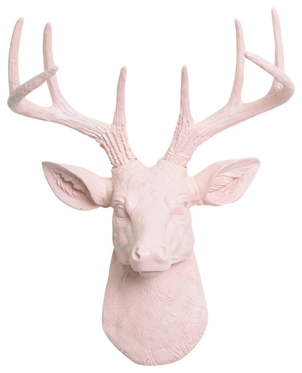 cameo-pink ceramic-like resin mini mounted deer head sculpture wall decor