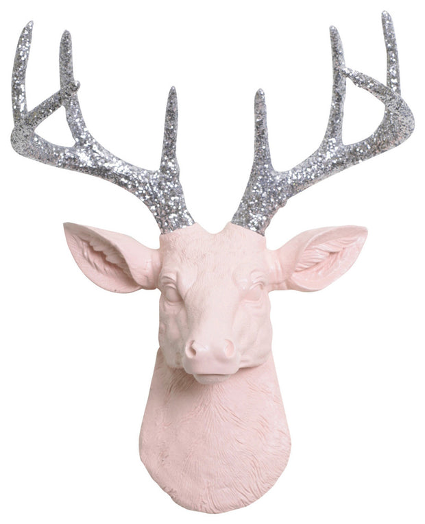 mini cameo-pink resin deer head sculpture & silver-glitter antler decor wall hanging