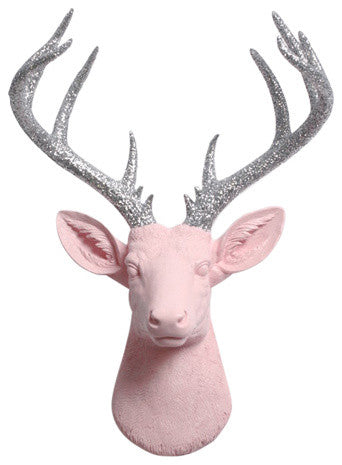 Cameo-Pink Resin XL Deer Head Mount, Silver Glitter Antler Decor