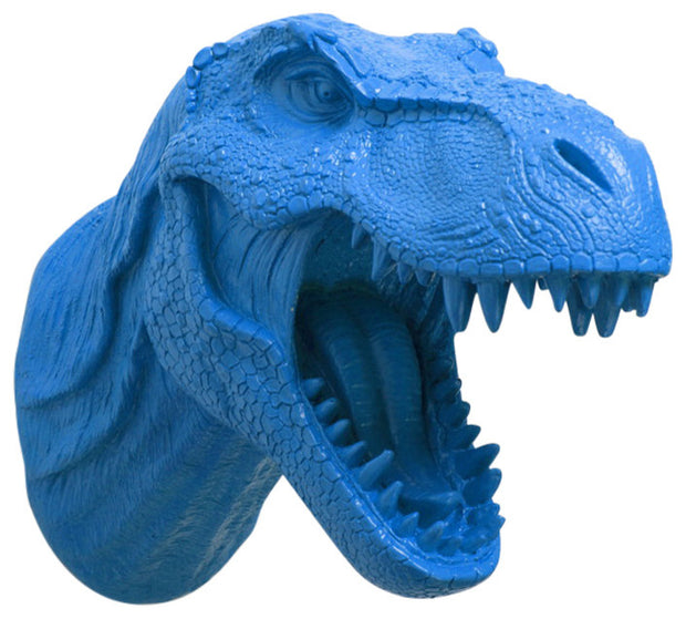 cobalt-blue color t rex dinosaur head trophy wall mount