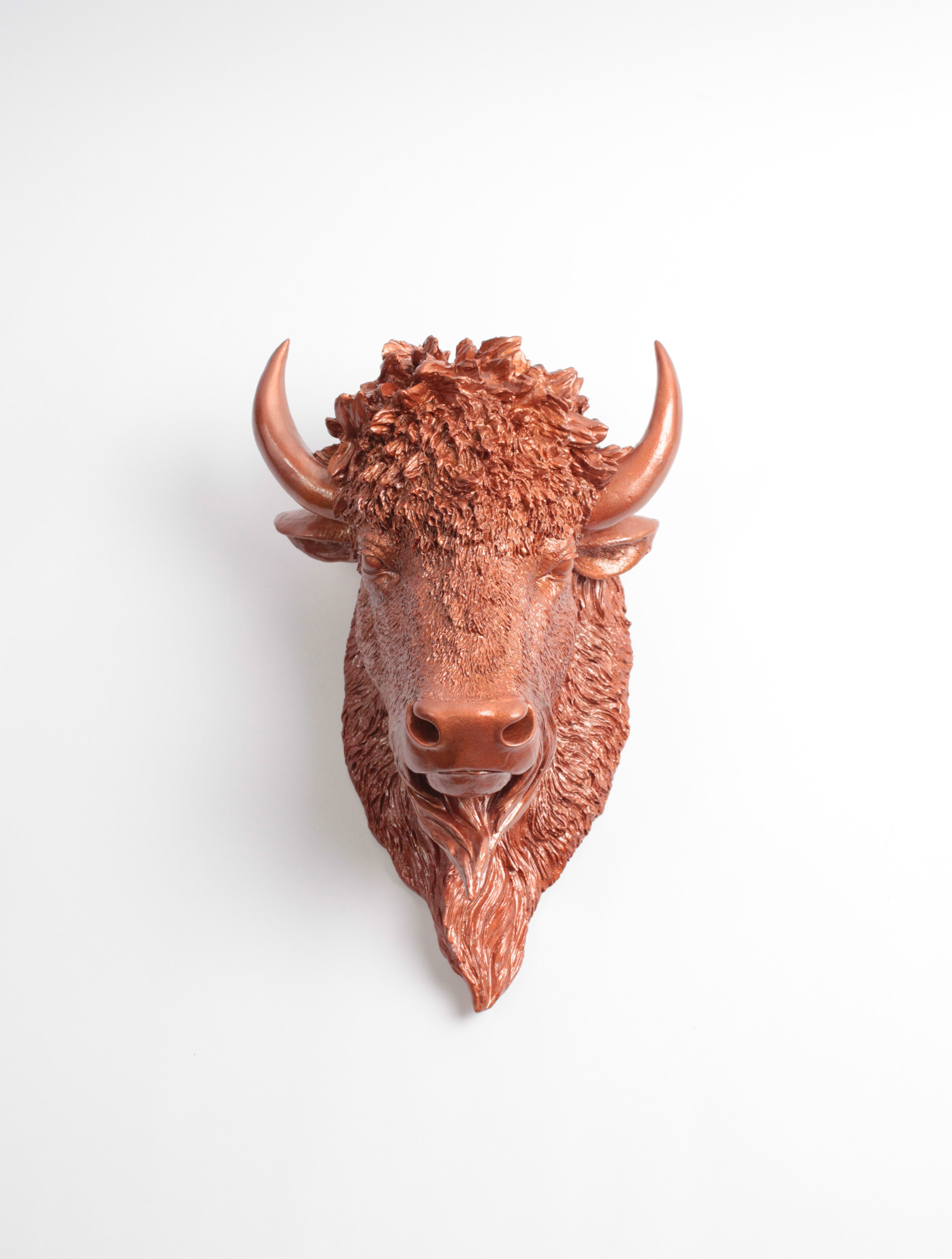 The Goldie Bison Head Faux Taxidermy Copper Resin
