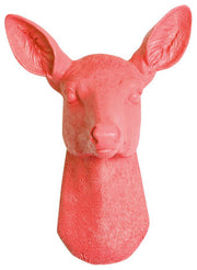 Coral-Orange Resin faux doe deer head without antlers wall sculpture by White Faux Taxidermy