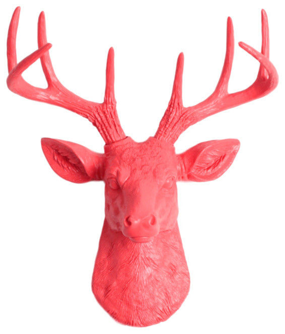 coral ceramic-like resin mini mounted deer head sculpture wall decor