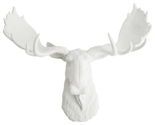White Moose Head Wall Mount, The Edmonton by WhiteFauxTaxidermy