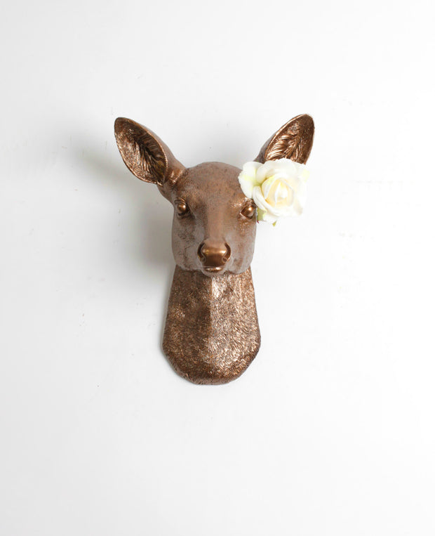 Bronze Resin faux doe deer head without antlers wall sculpture by White Faux Taxidermy