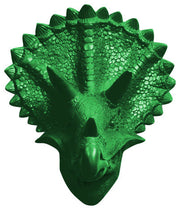 kelly-green colored resin triceratops form dinosaur head decor mount