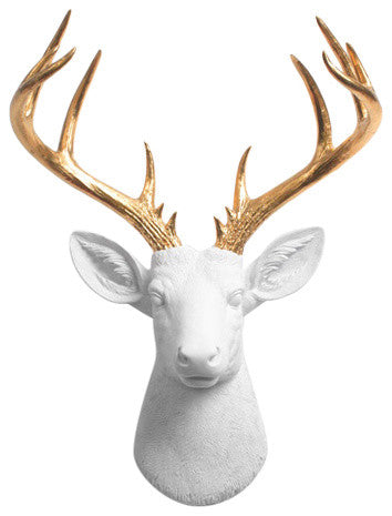 white Resin XL Deer Head Mount, Gold Antler Decor