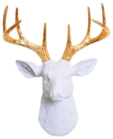 mini white resin deer head sculpture & gold antler decor wall hanging