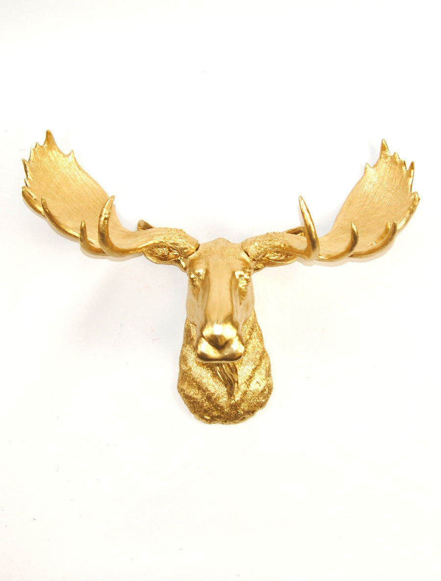 Faux Taxidermy Gold Moose Head, The Elcide – White Faux Taxidermy