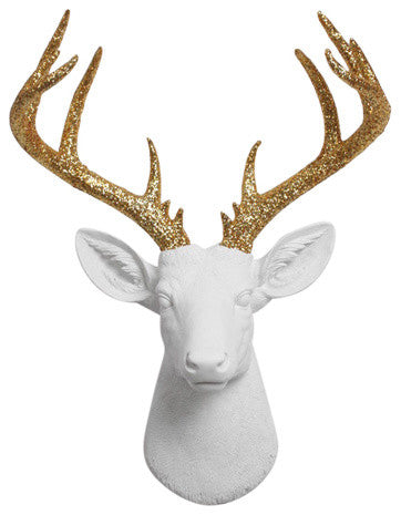 white Resin XL Deer Head Mount, Gold Glitter Antler Decor