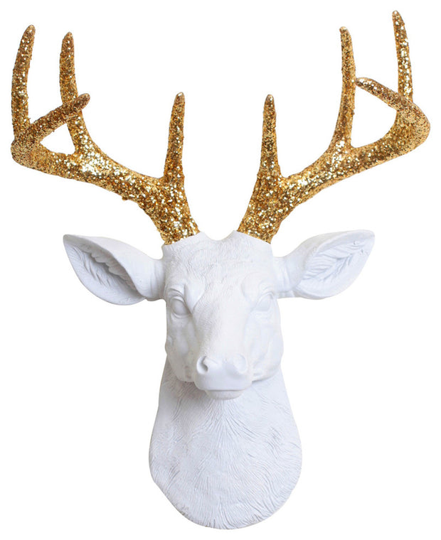 The MINI Winston | Stag Deer Head | Faux Taxidermy | White Resin w/Gold Glitter Antlers