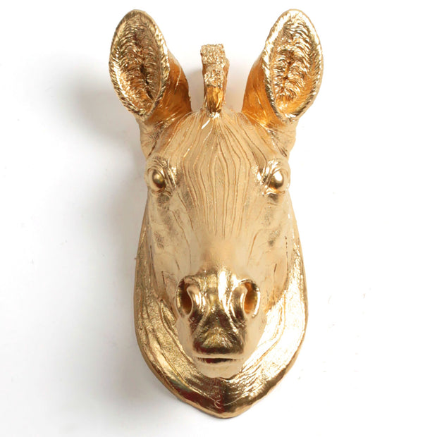 The Pierce - Gold Mini Zebra Head | Modern African Safari Decor