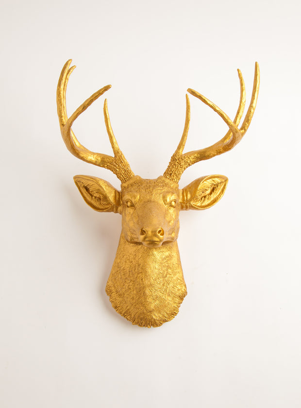 Faux Gold Deer Head Wall Mount. gold deer head wall decor, resin stag sculpture