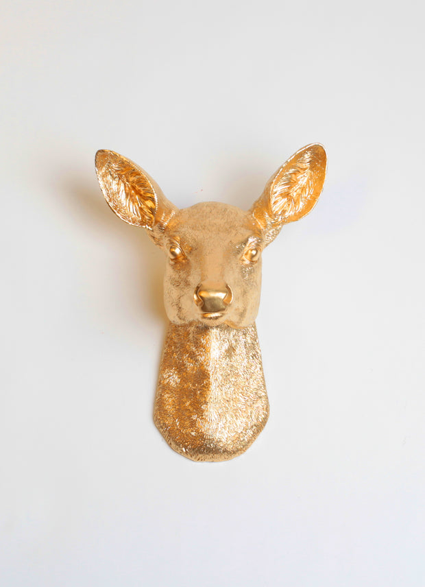 Gold Doe Head Wall Mount, Girl Deer - the Ophelia