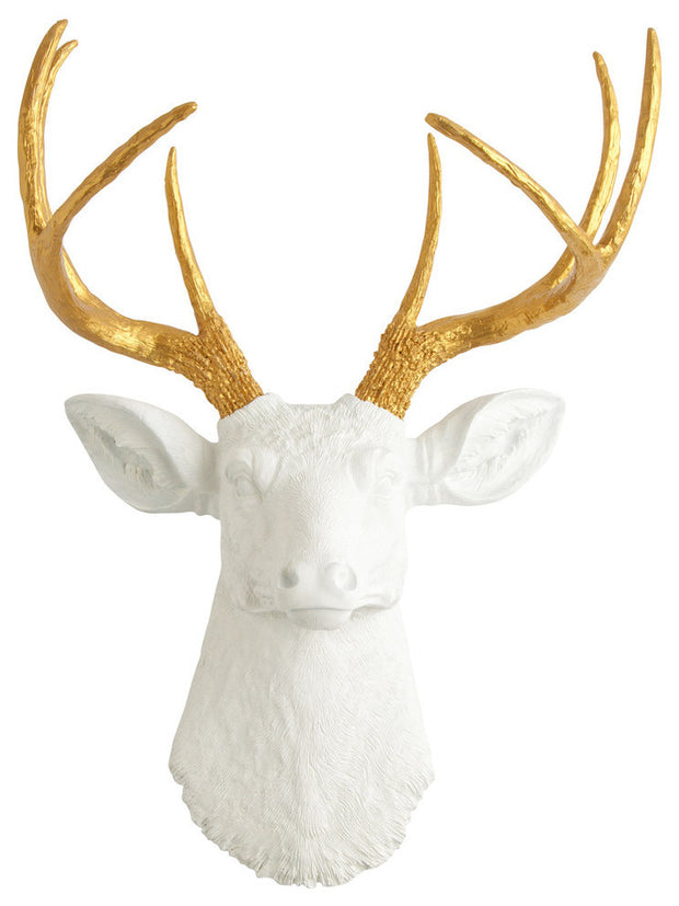 metallic gold faux deer antlers, white resin deer head wall sculpture