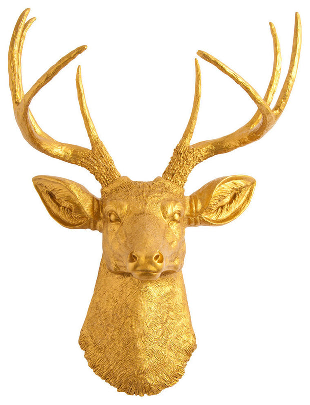 gold deer head wall decor, resin sculpture