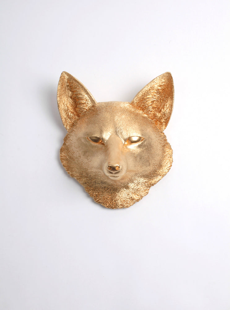 The Sylvester in Gold, Faux Taxidermy Fox Decor Head