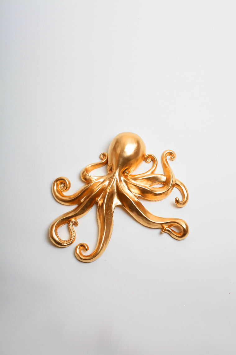 The Kraken in Gold | Large Faux Octopus | Gold Resin