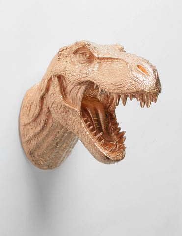 The Wilbur | T Rex Head | Faux Taxidermy Dinosaur Head | Gold Resin