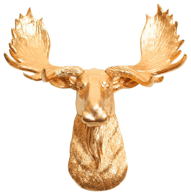 metallic gold resin mini moose head faux taxidermy art by WhiteFauxTaxidermy