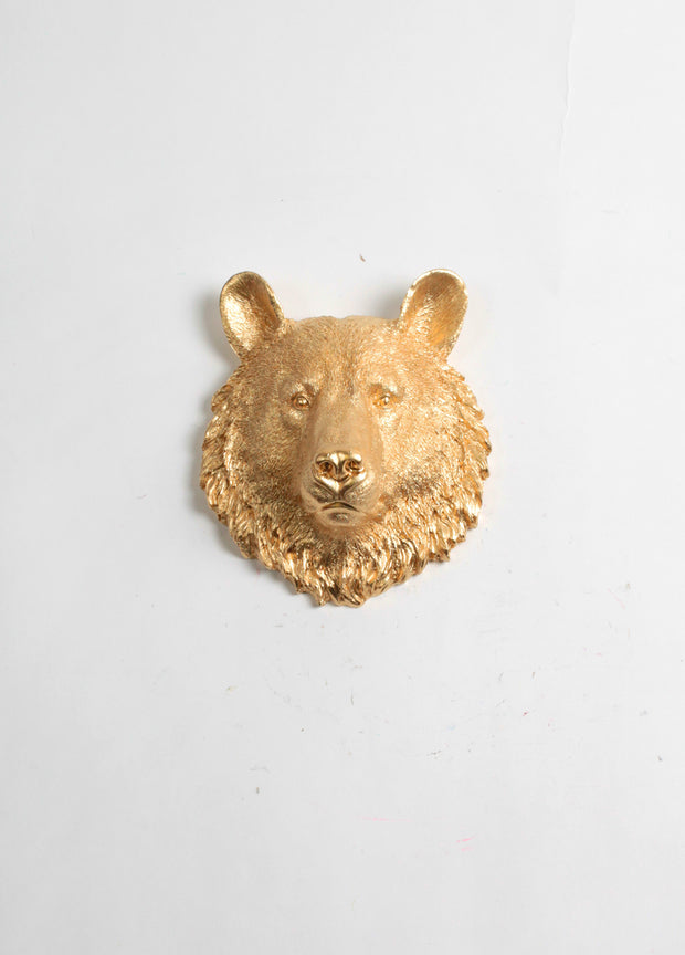 The Hudson | Mini Bear Head | Faux Taxidermy Animal Wall Decor | Gold Resin