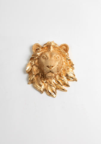 The Rico | Mini Lion Head | Faux Taxidermy | Gold Resin