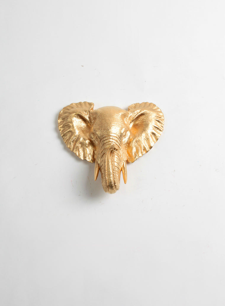 The Phineas | Gold Mini Elephant Head | Faux Taxidermy | Gold Resin