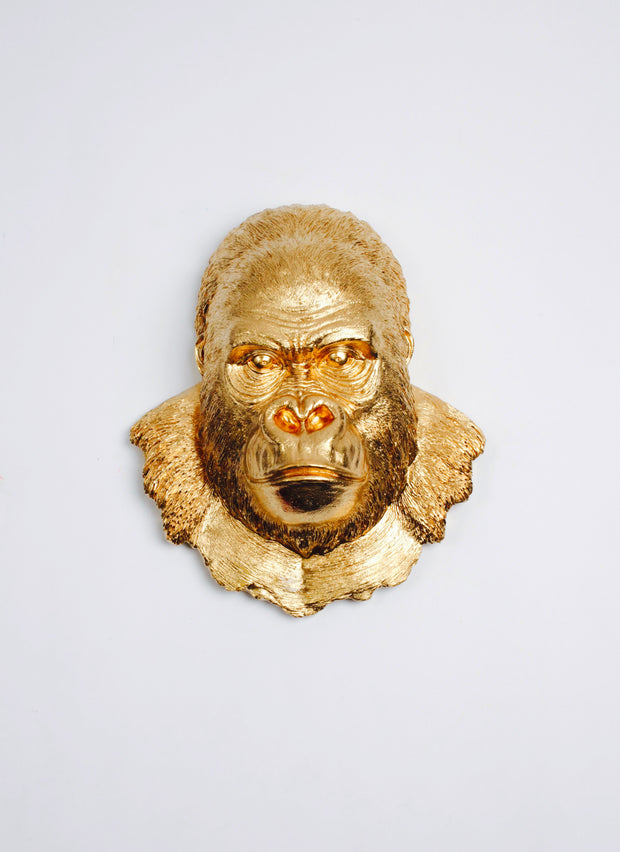 Gold Gorilla Head Wall Mount