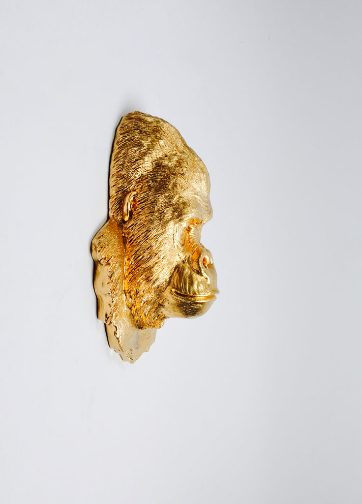 The Mambo In Gold Gorilla Head Wall Mount White Faux