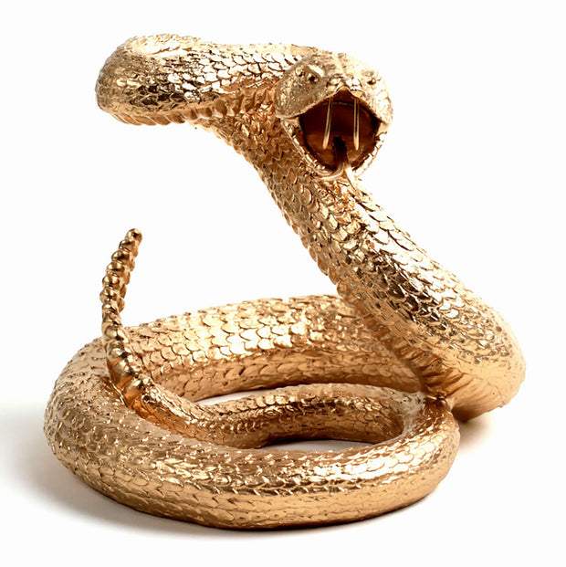 The Snake in Gold | Contemporary Western Rattlesnake Sculpture, Modern Farmhouse Home Decor