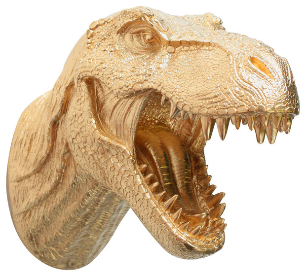 gold trex dinosaur head trophy wall mount