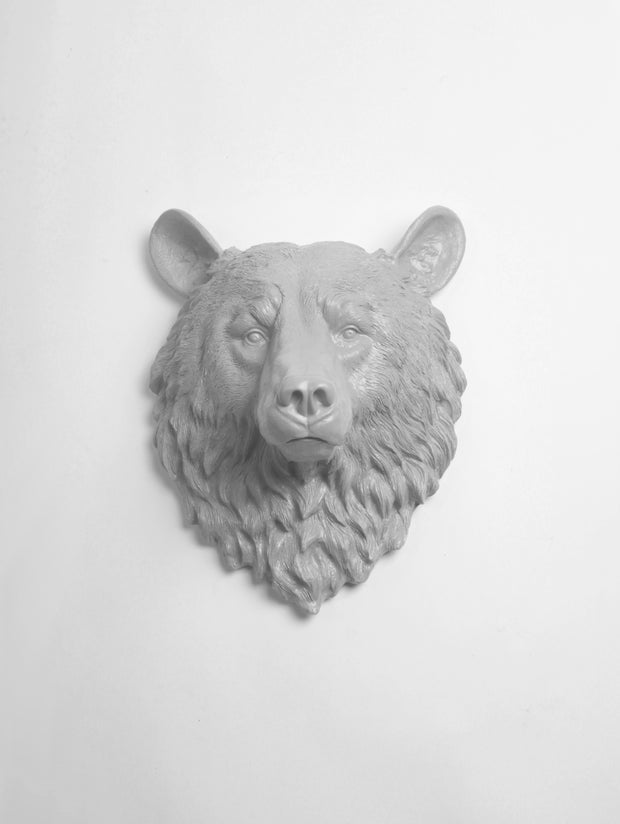 The Raleigh in Gray | Bear Head | Faux Taxidermy | Gray Resin