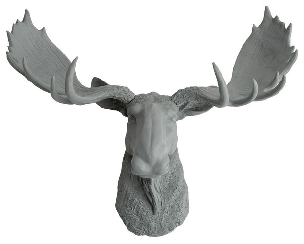 gray resin faux moose head wall hanging by WhiteFauxTaxidermy
