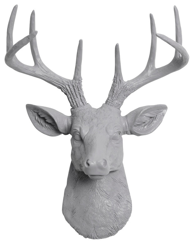 gray ceramic-like resin mini mounted deer head sculpture wall decor