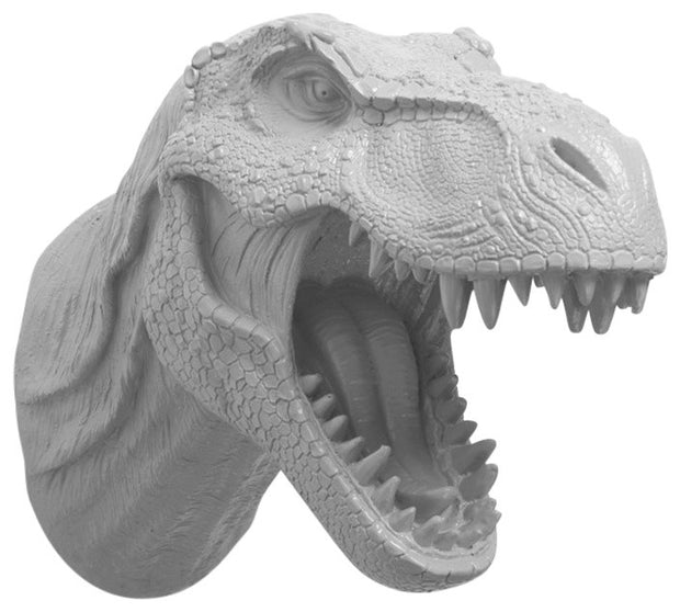gray t rex dinosaur head trophy wall mount