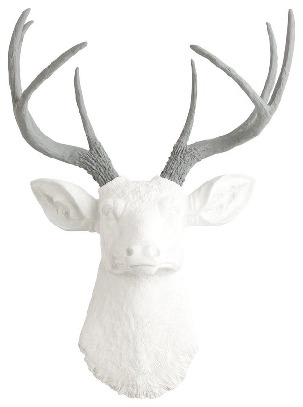 gray faux deer antlers, white faux deer head wall mount