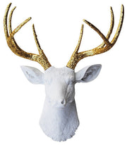 Fake Taxidermy Deer Head with gold glitter faux deer antlers, white faux deer head wall mount