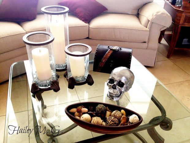 The Fitz in Black with Gold Teeth | Trendy Victorian Gothic Human Skull Art