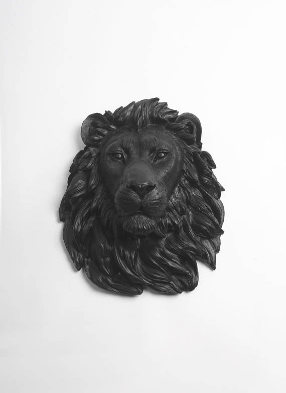 The Alvina | Lion Head | Faux Taxidermy | Black Resin