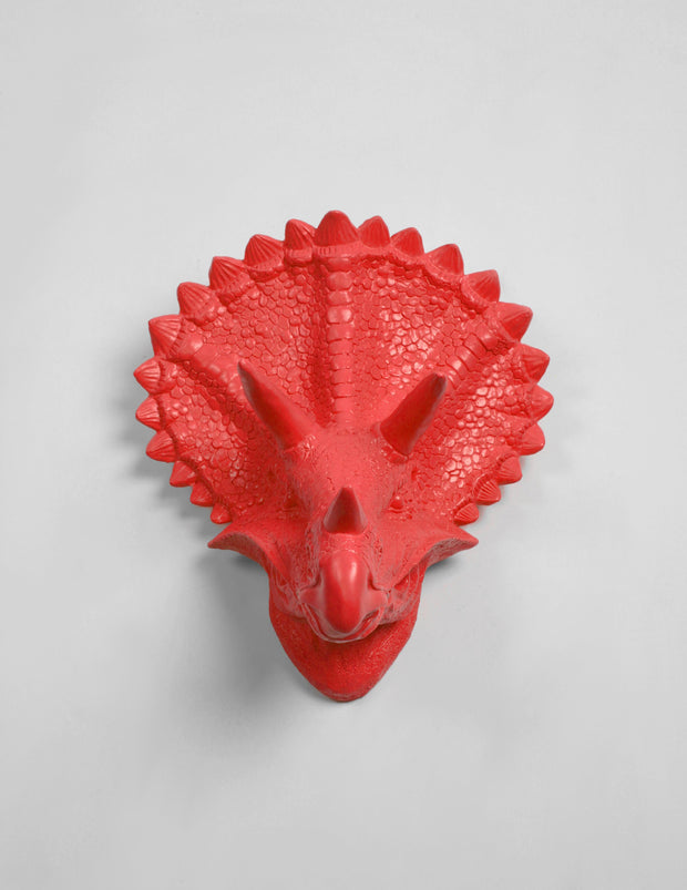 Triceratops Dinosaur Head Wall Hanging in Coral