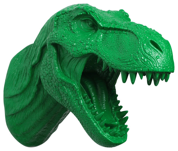 kelly-green trex dinosaur head trophy wall mount