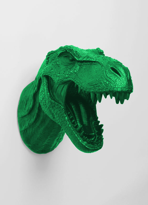 The Sebastian | Kelly Green T Rex Dinosaur Head Faux Taxidermy Head