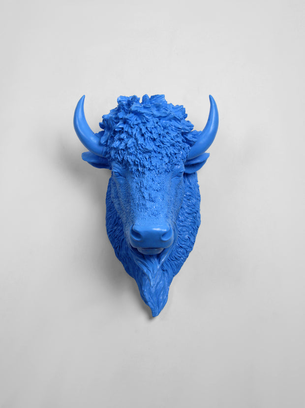 The Mellby in Cobalt | Bison Head | Faux Taxidermy | Cobalt Resin