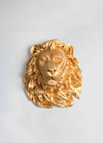 The Epson | Lion Head | Faux Taxidermy | Gold Resin