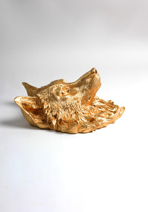 The Dexter | Wolf Head | Faux Taxidermy | Gold Resin