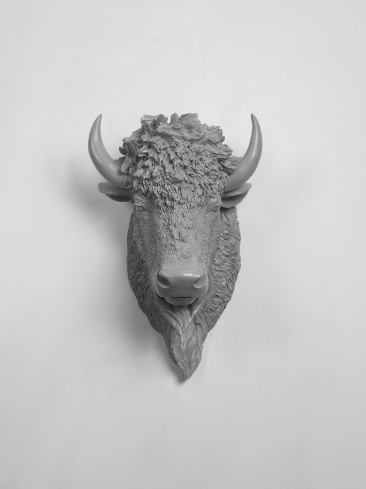 The Mellby in Gray | Bison Head | Faux Taxidermy | Gray Resin