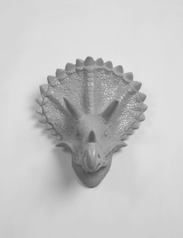Gray Triceratops Head Wall Decor