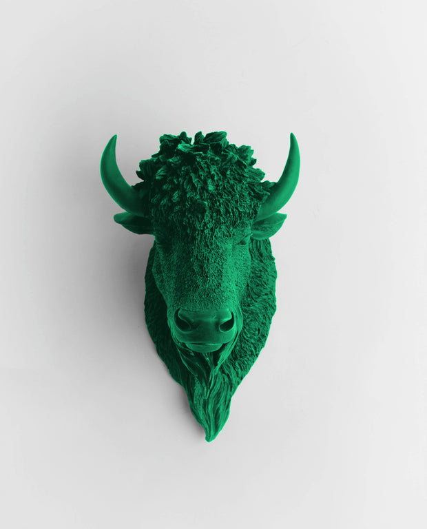 The Mellby in Kelly Green | Bison Head | Faux Taxidermy | Kelly Resin