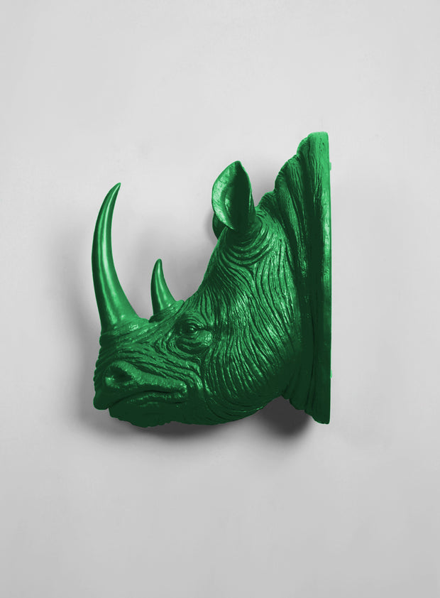 XL Kelly Resin Rhino Head - The Goliath in Green - White Faux Taxidermy - Faux Taxidermy - Resin Faux Taxidermy- Chic Rhino Sculpture